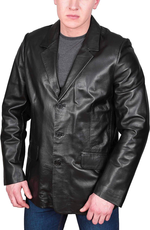 Soft Black Leather Blazer for Mens Suit Jacket Style Classic Coat - Paul