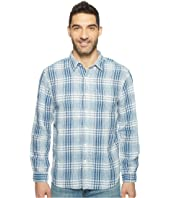 True Grit - Genuine Indigo Linen Long Sleeve One-Pocket Shirt Small Plaids