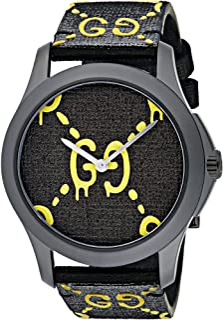 Gucci Unisex-Adult Analogue Classic Quartz Watch with Rubber Strap YA1264019