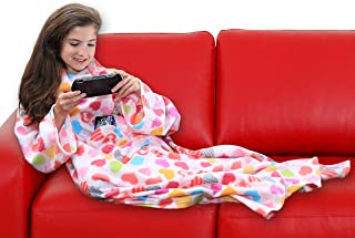 DG SPORTS Wearable Fleece Blanket for Kids with Sleeves and Pockets | Luxuriously Soft & Non-Irritating Fabric | Machine Washable | Cute Snuggle Couch Throw Cozy Cover for Boys and Girls (Hearts)