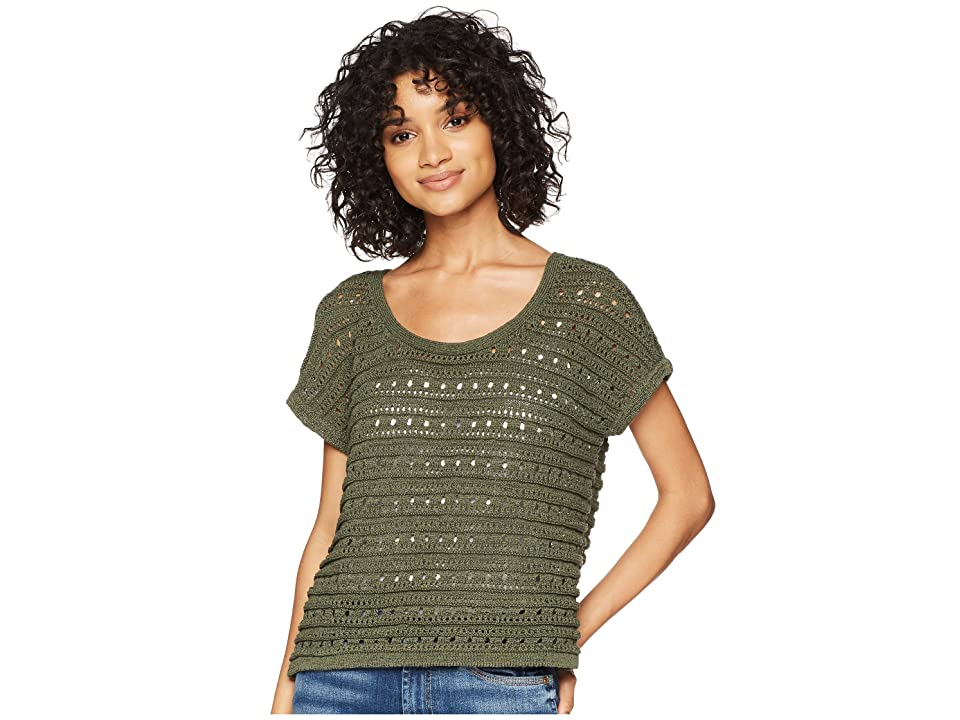 BB Dakota Larter Drop Needle Crop Sweater (Olive) Women
