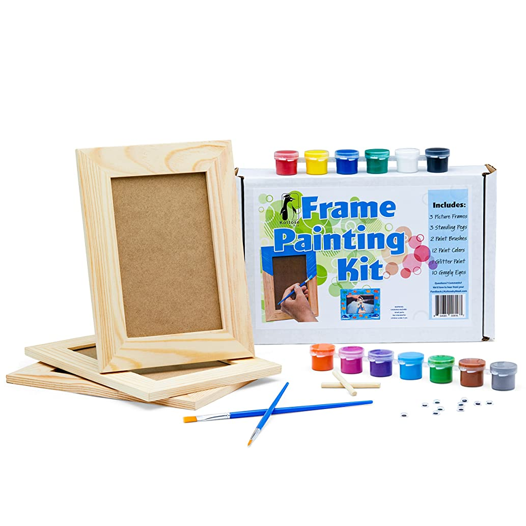 Picture Frame Painting Craft Kit, DIY Arts and Crafts Kit, 3 Unfinished Solid Wood Picture Frames (6X4 Photos) With Wooden Standing Pegs, Acrylic Paint, Glitter Paint, Paint Brushes, and Googly Eyes