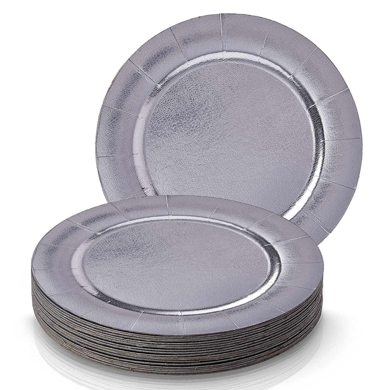DISPOSABLE ROUND CHARGER PLATES - 20pc (Metallic/Silver)