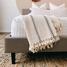 The Loomia Sophie 100% Turkish Cotton Boho Throw Blanket (Large Full-Size, Cream to Ecru Base with Black Stripes)