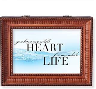 Roman Wedding Anniversary My Whole Heart Large Insert Music Box Brown