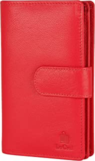 Le Craf Red Genuine Leather RFID Blocking Wallet Clutch for Women and Girls