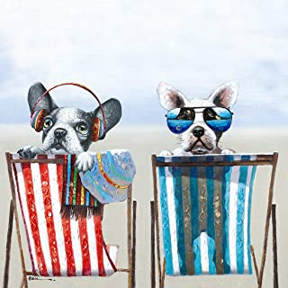 Boston Terrier Beach Bulldogs Wall Art Modern Printing On Canvas Painting with Hand Embellished Home Decor 28