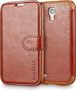 Mulbess Funda Samsung Galaxy S4 [Libro Caso Cubierta] [En Capas de Billetera Cuero] con Tapa Magnética Carcasa para Samsung Galaxy S4 Case, Marrón