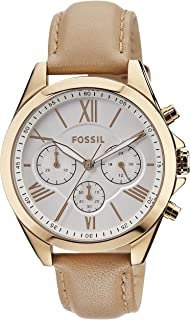 Fossil Women's Modern Courier Quartz Stainless Steel and Leather Chronograph Watch, Color: Rose Gold, Tan (Model: BQ1751)