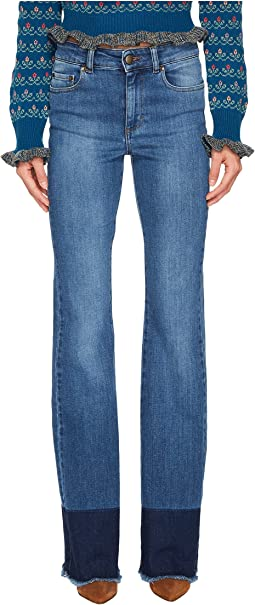 RED VALENTINO - Denim Stretch Stone Washed & Resist Dyeing Pants