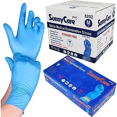 1000 SunnyCare #8202 Blue Nitrile Medical Exam Gloves Powder Free Chemo-Rated (Non Vinyl Latex) 100/box;10boxes/case Size: Medium
