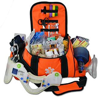 Lightning X Deluxe Stocked Large EMT First Aid Trauma Bag Fill Kit w/Emergency Medical Supplies (Fluorescent Orange)
