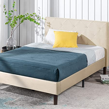 ZINUS Shalini Upholstered Platform Bed Frame / Mattress Foundation / Wood Slat Support / No Box Spring Needed / Easy Assembly, Beige, Queen