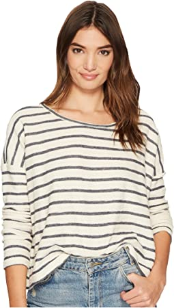 Allyson Striped French Terry Drop Shoulder Top