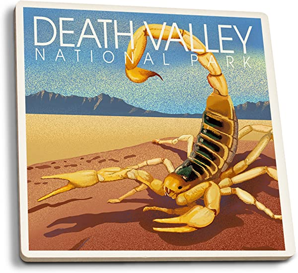 Lantern Press Death Valley National Park California Lithograph Scorpion Set Of 4 Ceramic Coasters Cork Backed Absorbent