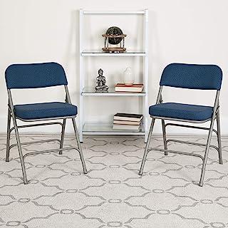 Flash Furniture 2 Pack HERCULES Series Premium Curved Triple Braced & Double Hinged Navy Fabric Metal Folding Chair