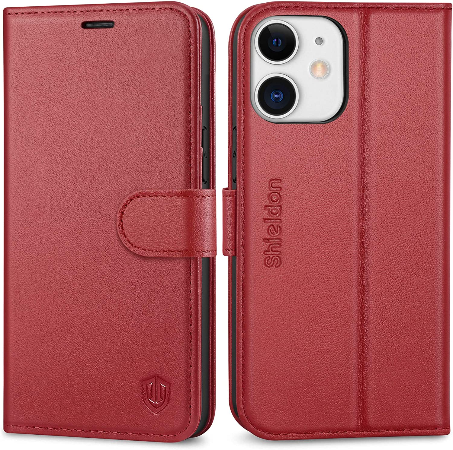 SHIELDON Case for iPhone 12 Mini, Wallet Case for iPhone 12 Mini, Genuine Leather Flip Magnetic RFID Blocking Card Holder Kickstand Shockproof Case Compatible with iPhone 12 Mini 5G 5.4