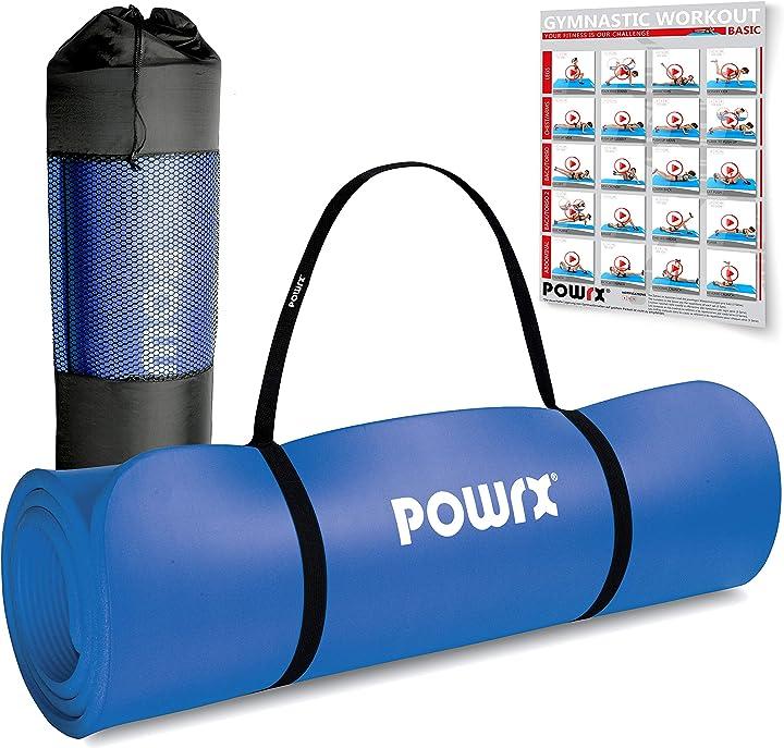 Tappetino fitness antiscivolo 190 x 60, 80, 100 cm - ideale per yoga, pilates e ginnastica B075FSW7MY