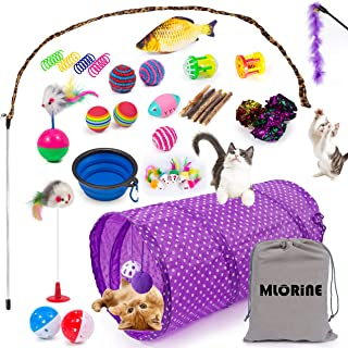 Cat Toys Kitten Toys 34pcs Assorted Cat Tunnel Catnip Fish Feather Teaser Wand Fish Fluffy Mouse Mice Balls and Bells Toys...