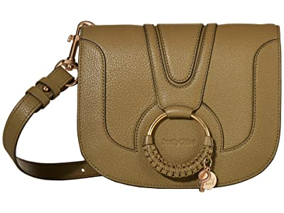 See by Chloe Hana Small Suede Leather Crossbody (Safari Khaki) Cross Body Handbags