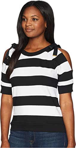 Striped French Terry Cold-Shoulder Top
