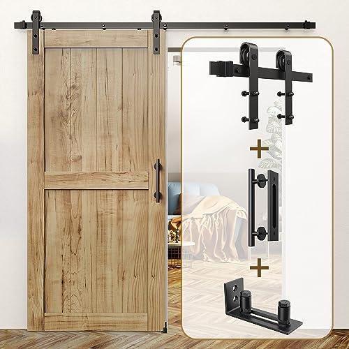 "popular ROOMTEC online sale Sliding Barn Door Hardware Kit 6.6ft & 12"" Sliding Barn Door Handle Black & Sliding Barn Door Bottom Floor 2021 Guide outlet sale"