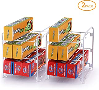Simple Trending 2 Pack - Kitchen Wrap Organizer Rack, Organizer Holder for Aluminum Foil, Saran and Plastic Wrap, White