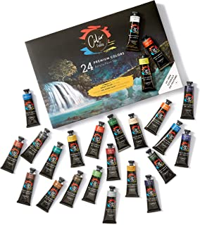 Acrylic Paint Set, 24 Large Tubes (37 mL, 1.25 oz) ColorByFeliks Professional Art Supplies for Painting and Crafts, Rich Pigments and Vivid Colors. Free Color Mixing Ebook