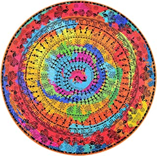 Bgraamiens Puzzle- Ancient Tribal Life -1000 Pieces Rich Color Round Mandala Challenge Blue Board Round Jigsaw Puzzles