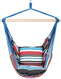 Blissun Hanging Hammock Chair, Hanging Swing Chair with Two Cushions, 34 Inch Wide Seat (Cool Breeze)