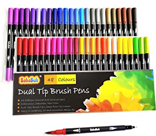 Dual Tip Brush Pens: Felt Tip Pen Set 48 Colors Colouring Pens Art Markers for Kids and Adults Colouring, Fineliner Tip Brush Marker for Drawing Sketching Design Calligraphy Painting Lettering Journal