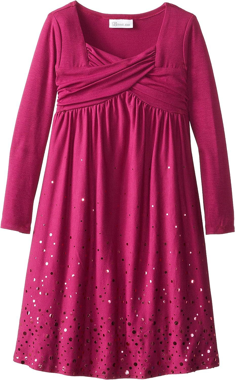 Bonnie Jean Big Girls' Spangle Knit Dress with Crossover Neckline