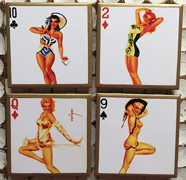 Pinup Playing Card Coasters With Gold Trim