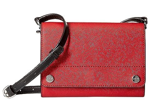 Susan Saffiano Leather Flap Crossbody, Red/Sliver Metallic