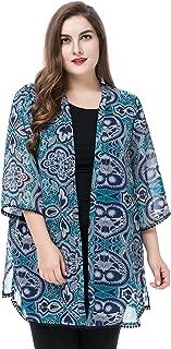 Chicwe Women's Plus Size Floral Print Chiffon Jacket Shawl Kimono Kaftan Style with Trim Cuff & Hem Size 20-30