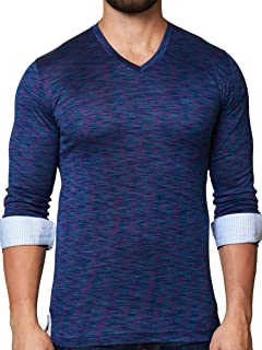 Stylish /& Trendy T Shirt Edison Check Navy Tailored Fit Maceoo Mens Designer V Neck