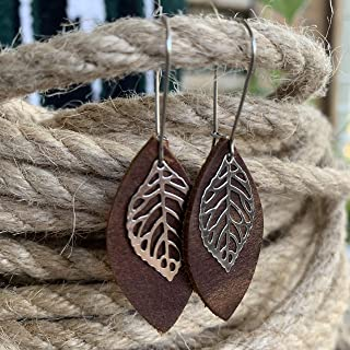 Leather Leaf Earrings Rustic Brown Leather Petal with Metal Leaf Charm Small Lightweight Bohemian Dangles