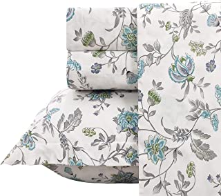 FADFAY Sheet Set King Farmhouse Bedding Vintage Bedding Shabby Floral Bedding 100% Cotton Super Soft Hypoallergenic Blue and White Deep Pocket Fitted Sheet 4-Pieces King Size