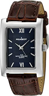 Peugeot Men's Textured Roman Numeral Dial Leather Strap Classic Dress Watch