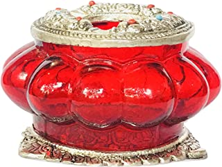 meenakshi handicraft emporium Metal and Glass Carving Round Shape Ash Tray, Standard, Red