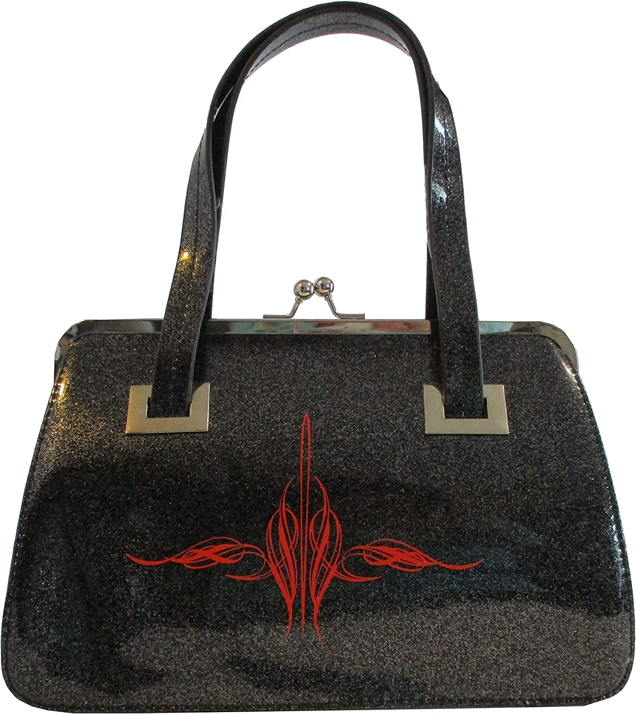 Hell Bunny Lock Kiss Purse Black Sparkle Metallic Red Pinstripe Handbag Retro