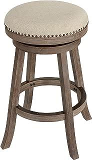Cortesi Home Piper Backless Swivel Bar Stool in Solid Wood & Beige Fabric, 30