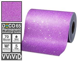 VViViD Glitter Purple DECO65 Permanent Adhesive Craft Vinyl 1 Foot x 6 Feet Roll for Cricut, Silhouette & Cameo