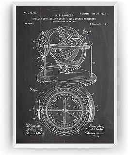 Stellar Compass 1902 Patent Print - Beach House Nautical Sailing Póster Con Diseños Patentes Decoración de Hogar Inventos ...