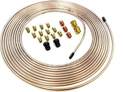 """The Stop Shop 25 Feet of 3/16 Inch (4.75 mm) Copper Nickel Brake Line (.028"""" Wall Thickness) with Fittings: image"""