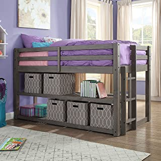 Better Homes and Gardens Loft Storage Bed with Spacious Storage Shelves, Multiple Finishes, Slate