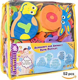 Foam Bath Toys Preschool Alphabet – Best Baby Bath Toys Toddlers Kids Girls Boys - Premium Educational Floating Bathtub Toys - Non Toxic Letters Animals Bath Toy Set - The Biggest Bathtub Toys - Safe