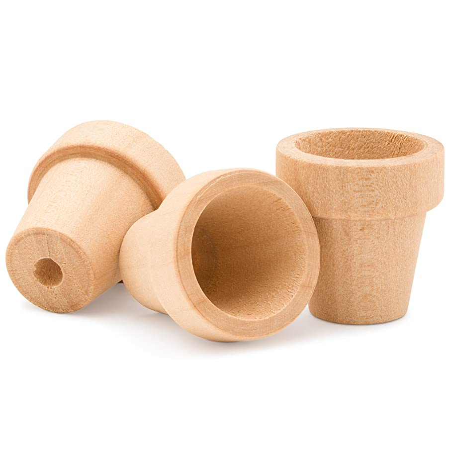 Craft Flower Pot - 2 inches Tall and 1-3/4 inch Wide at Opening - 6 Pack - Unfinished Wood Flower Pot- by Woodpeckers Crafts