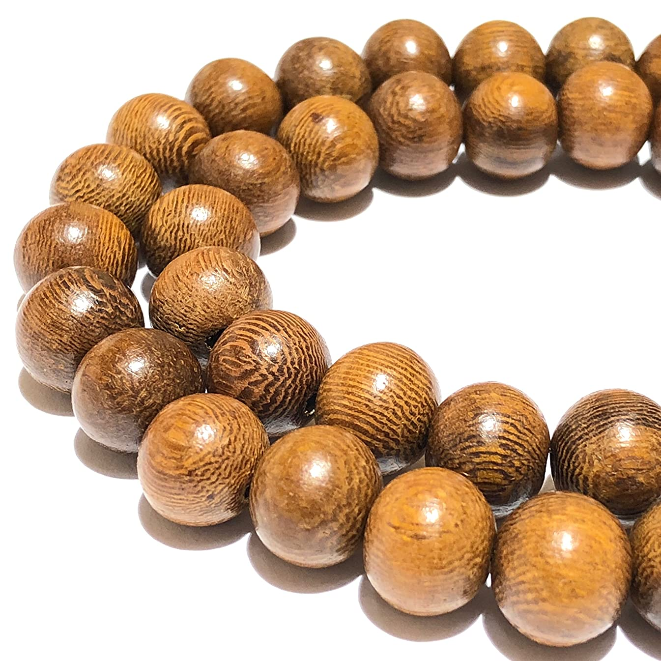 [ABCgems] Madre De Cacao Hardwood AKA Kakawate (Exquisite Wood Grain) Tiny 6mm Smooth Round Beads for Beading & Jewelry Making