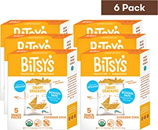 Bitsy's Multi-Pack Organic Smart Crackers Cheddar Chia Veggie 5 Count Snackpacks (Pack of 6) Healthy Organic Nut-Free Snacks with Fruits and Vegetables for Kids